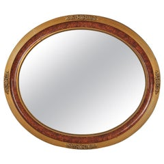 Louis XVI Style Faux Tortoise Oval Mirror, France, 1920s