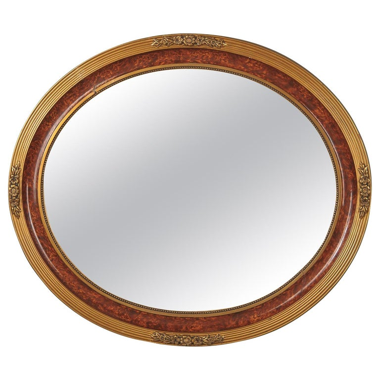 Louis XVI Style Faux Tortoise Oval Mirror, France, 1920s For Sale