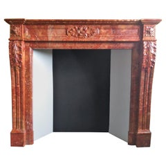 Louis XVI-Style Fireplace in Brèche Sanguine Marble