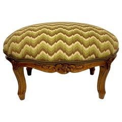 Louis XVI Style Flame Stitch Needlepoint Footstool