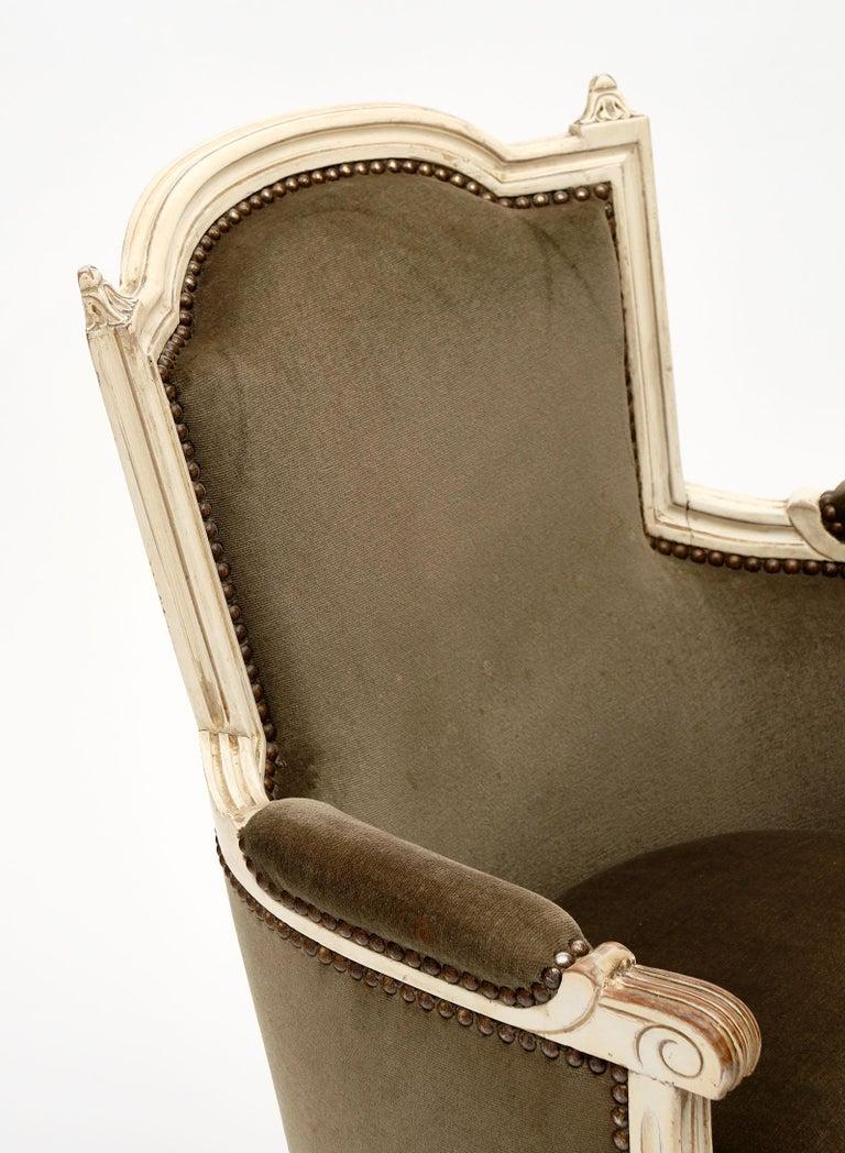 Velvet Louis XVI Style French Antique Bergères For Sale
