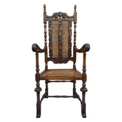 Louis XVI Style French Carved Walnut Armchair with Reed Seat