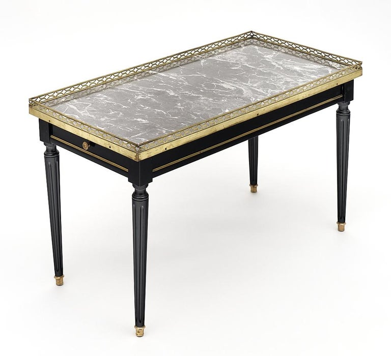 Ebonized Louis XVI Style French Coffee Table For Sale