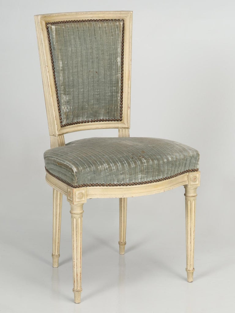 Louis XVI Style French Dining Chairs in Original Paint and Dirty Fabric Set of 6 For Sale 9