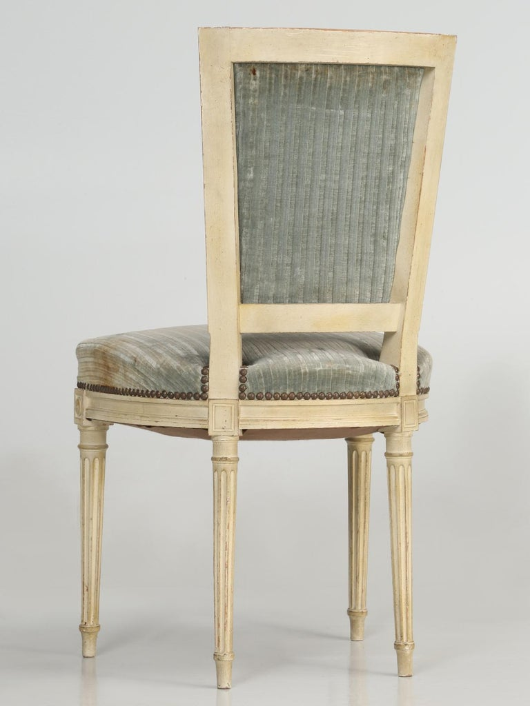 Louis XVI Style French Dining Chairs in Original Paint and Dirty Fabric Set of 6 For Sale 11