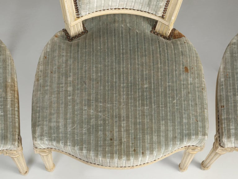 Louis XVI Style French Dining Chairs in Original Paint and Dirty Fabric Set of 6 For Sale 3