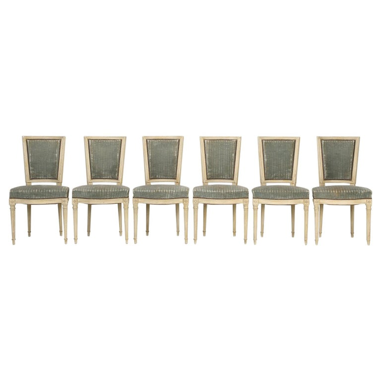 Louis XVI Style French Dining Chairs in Original Paint and Dirty Fabric Set of 6 For Sale
