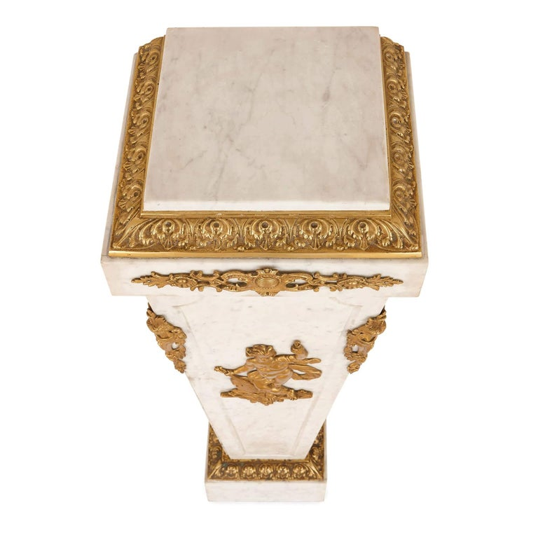 Louis XVI Style French Gilt Bronze and Marble Pedestal In Excellent Condition For Sale In London, GB