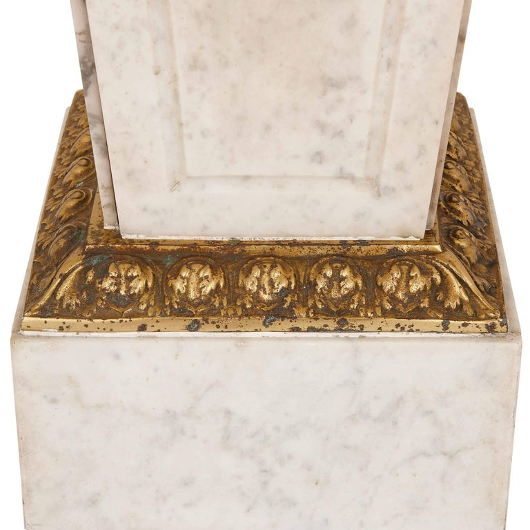 20th Century Louis XVI Style French Gilt Bronze and Marble Pedestal For Sale