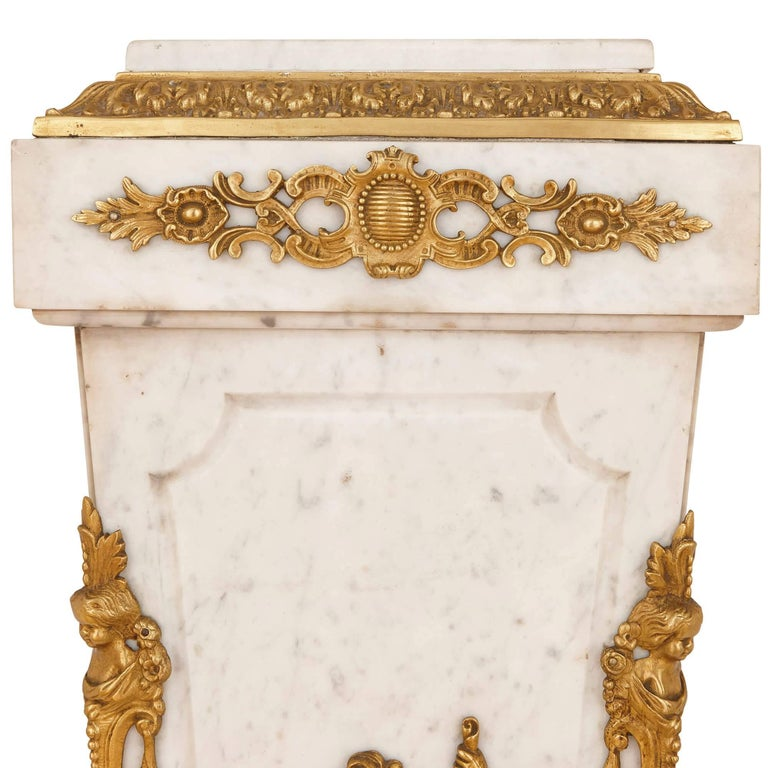 Ormolu Louis XVI Style French Gilt Bronze and Marble Pedestal For Sale