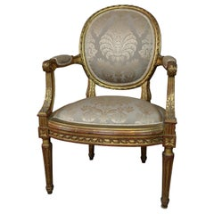 Louis XVI Style French Gilt Chair with Antique Damask Fabric
