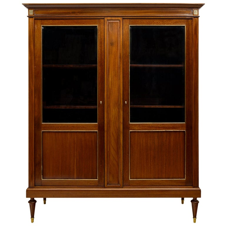 Louis XVI Style French Mahogany Bookcase For Sale