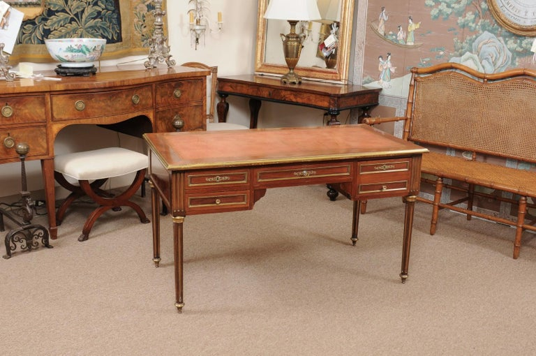 Louis XVI Style French Mahogany Brass Inlaid Bureau Plat, Late 19th Century In Good Condition For Sale In Atlanta, GA