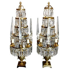 Louis XVI Style French Majestic Pair of Crystal and Bronze Girandoles