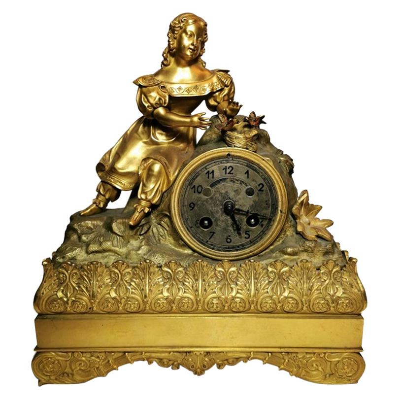 Louis XVI Style French Mantel Clock In Gilded Bronze
