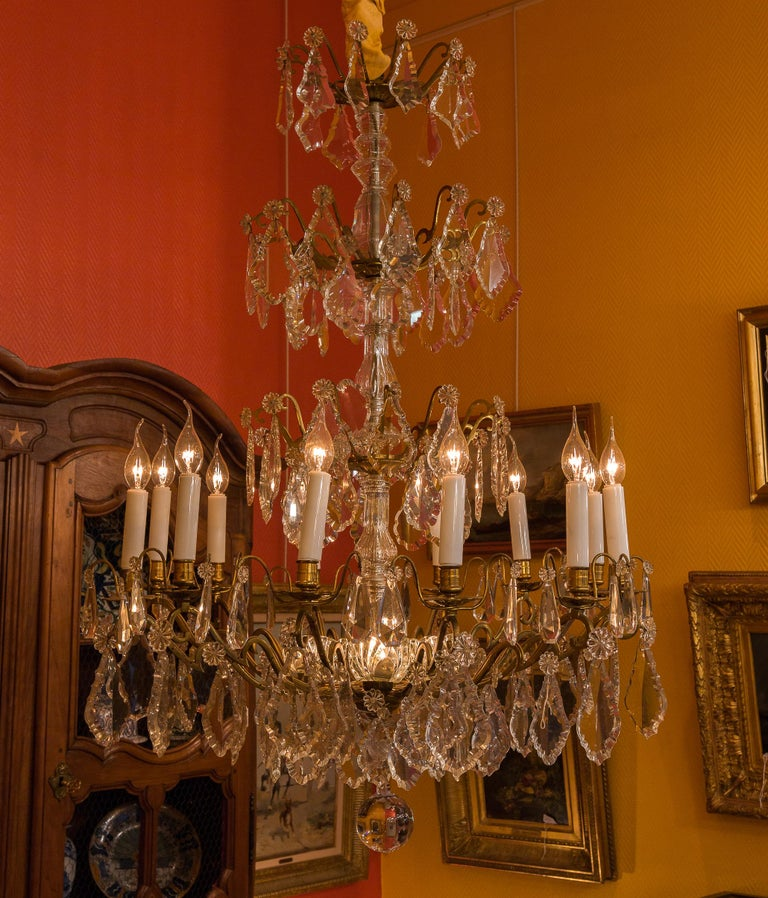 Louis XVI Style French Mid-20th Century, Bronze & Crystal Chandelier, circa 1950 For Sale 6