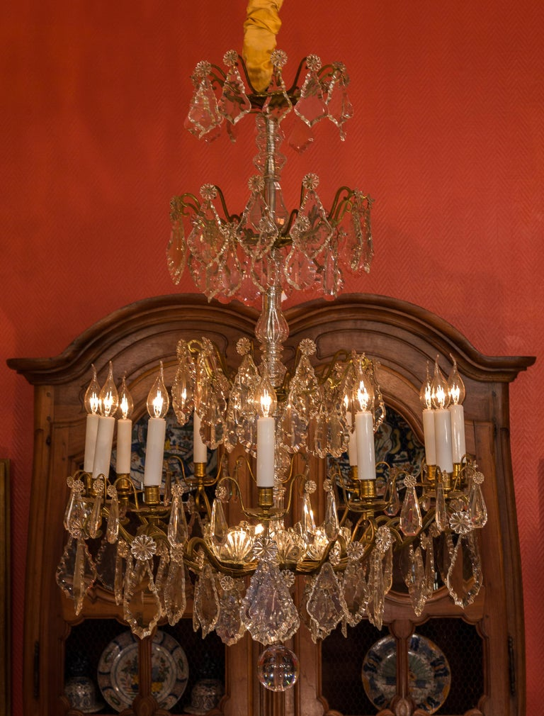Gilt Louis XVI Style French Mid-20th Century, Bronze & Crystal Chandelier, circa 1950 For Sale