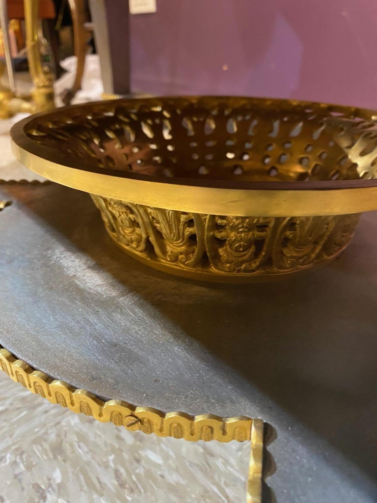 Louis XVI Style French Ormolu-Mounted Steel Coffee Table For Sale 4