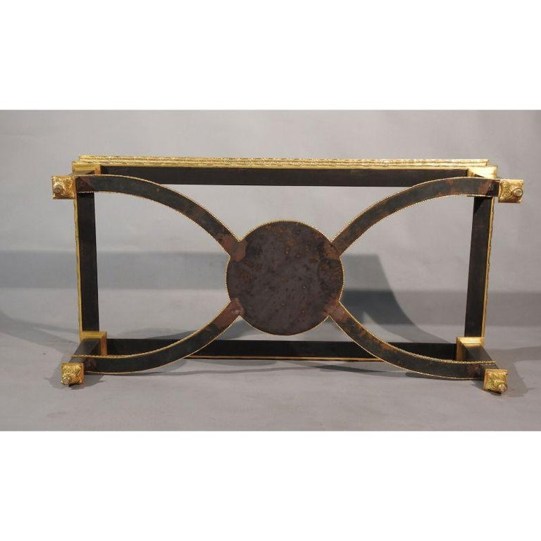 American Louis XVI Style French Ormolu-Mounted Steel Coffee Table For Sale