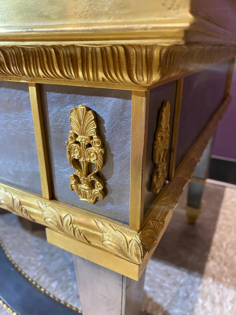 Louis XVI Style French Ormolu-Mounted Steel Coffee Table In Good Condition For Sale In New York, NY