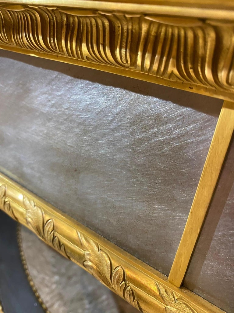 Louis XVI Style French Ormolu-Mounted Steel Coffee Table For Sale 1