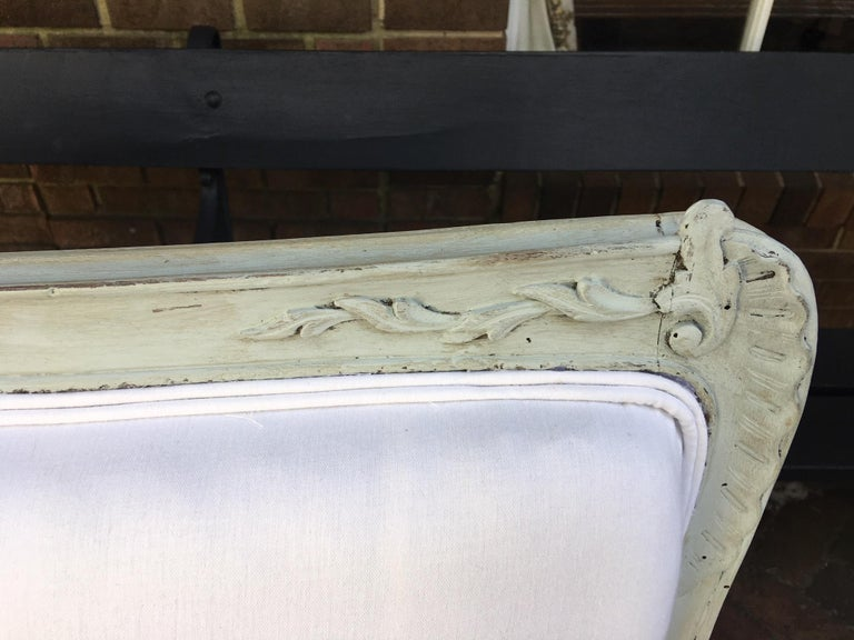 Louis XVI Style French Painted Wood Upholstered Settee or Sofa, 19th Century For Sale 9