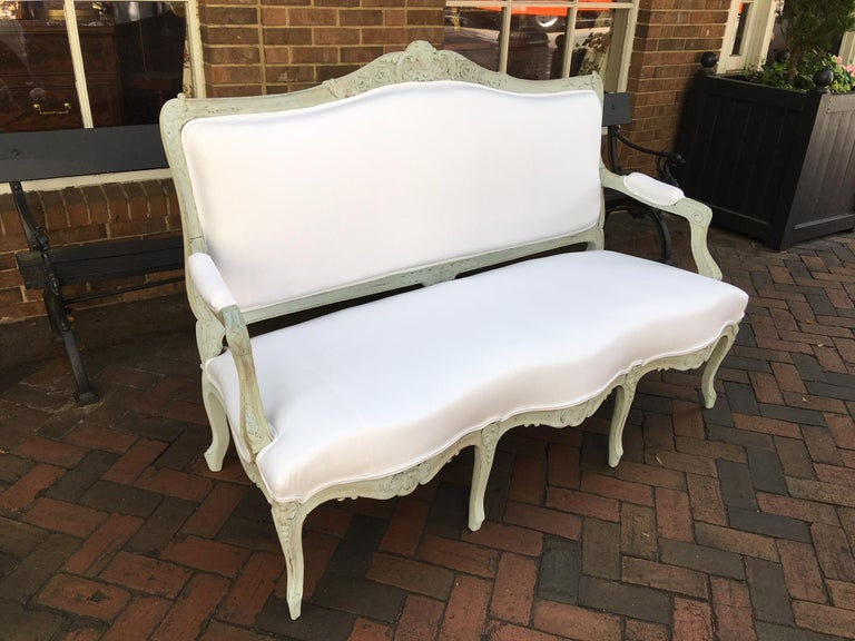Louis XVI Style French Painted Wood Upholstered Settee or Sofa, 19th Century In Good Condition For Sale In Savannah, GA