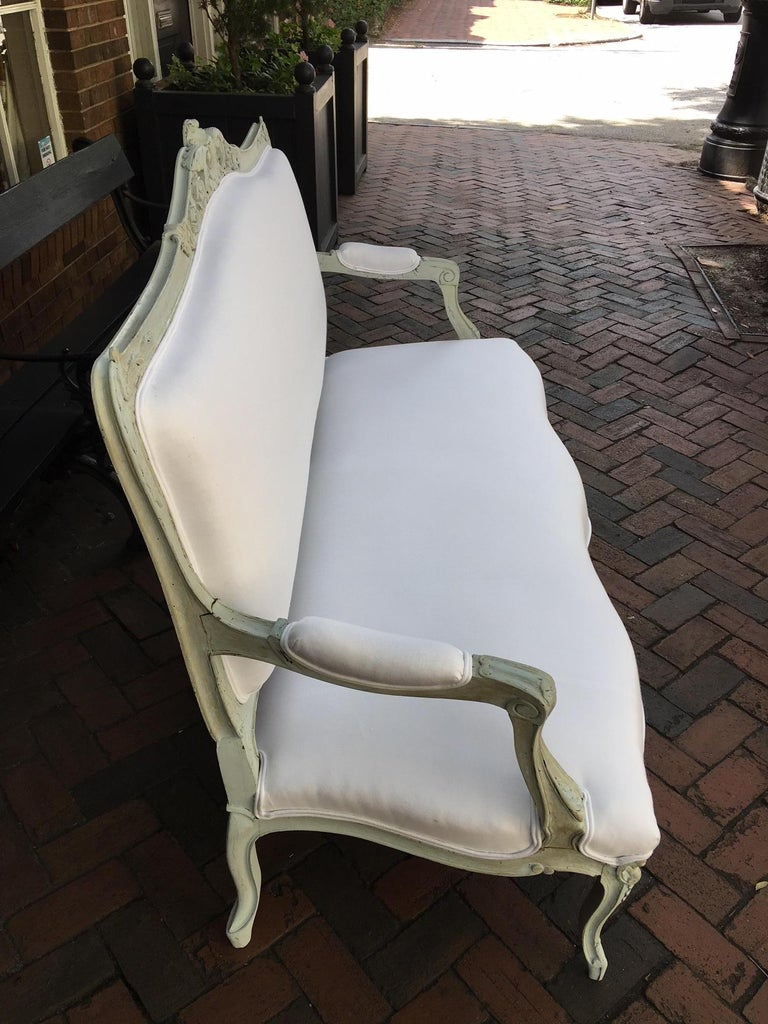 Louis XVI Style French Painted Wood Upholstered Settee or Sofa, 19th Century For Sale 1