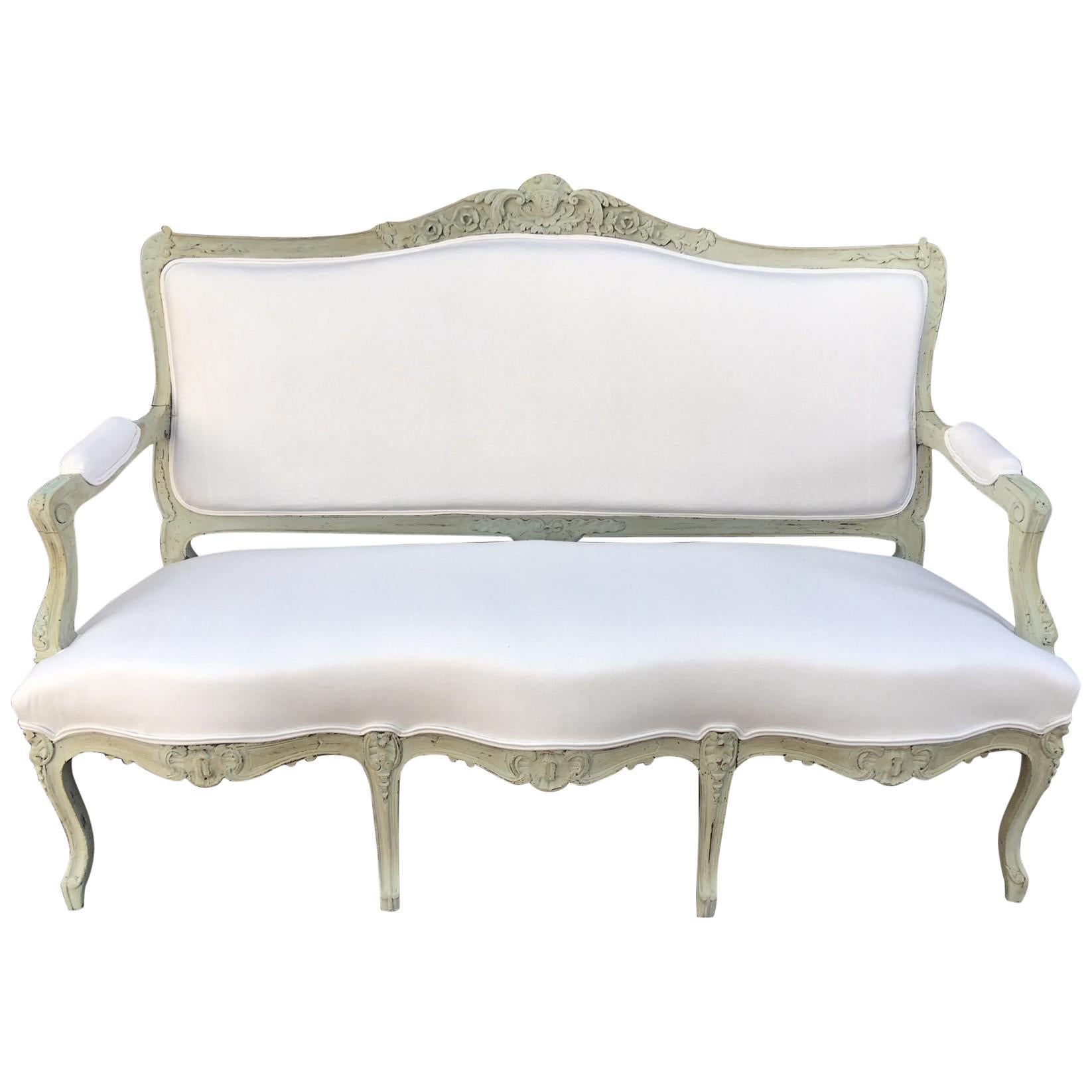 Louis XVI Style French Painted Wood Upholstered Settee or Sofa, 19th Century