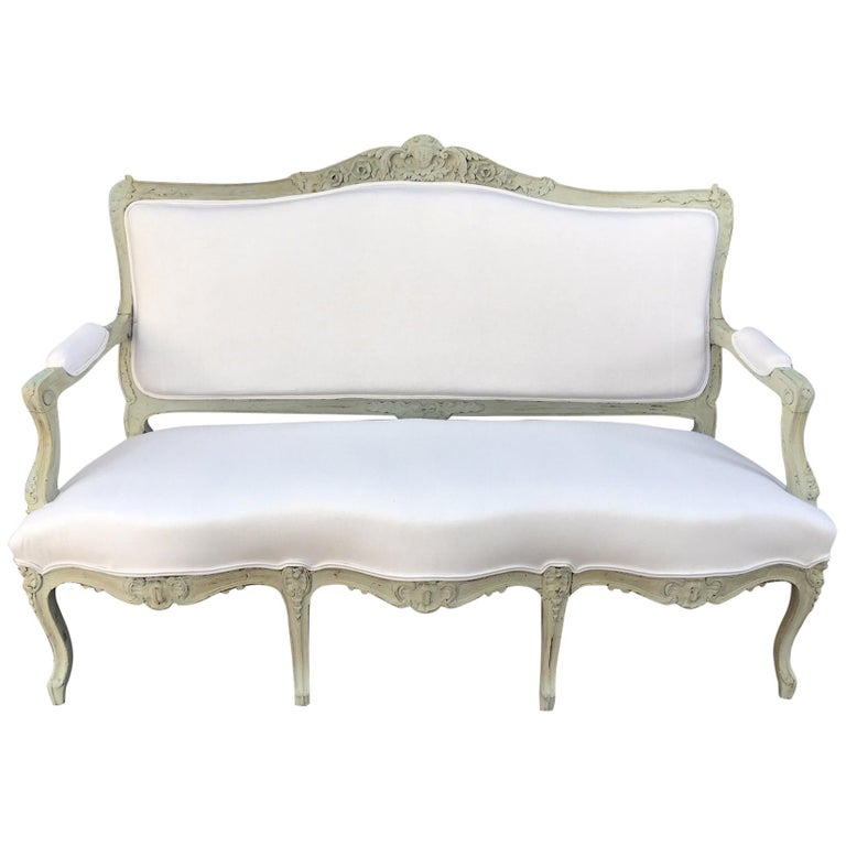 Louis XVI Style French Painted Wood Upholstered Settee or Sofa, 19th Century For Sale
