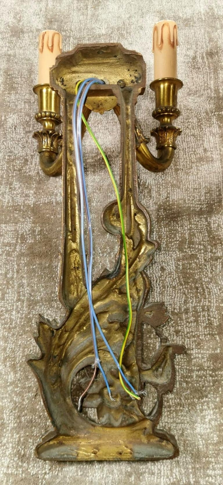 Louis XVI Style French Pair of Appliques in Gilded Bronze For Sale 5