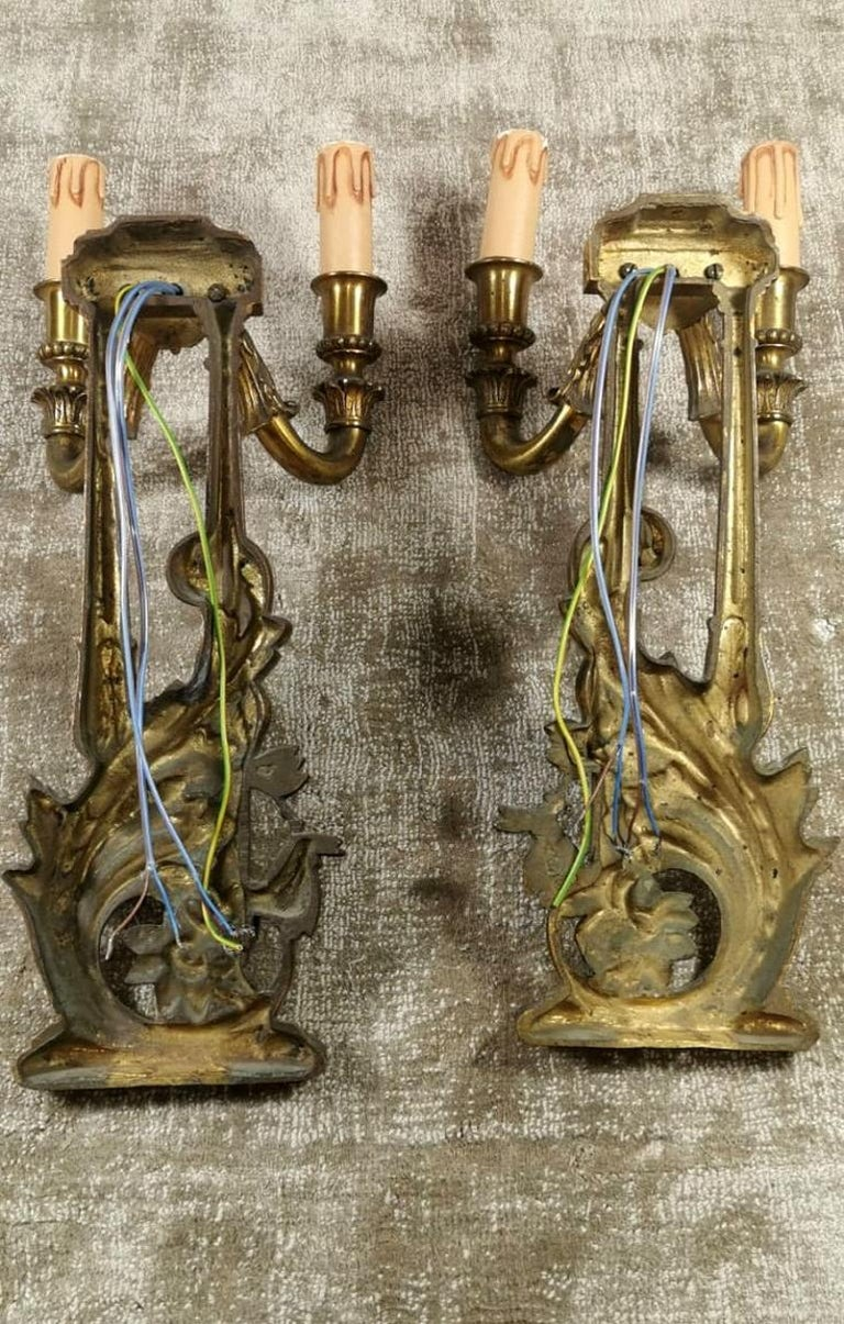 Louis XVI Style French Pair of Appliques in Gilded Bronze For Sale 4