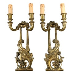 Louis XVI Style French Pair of Appliques in Gilded Bronze