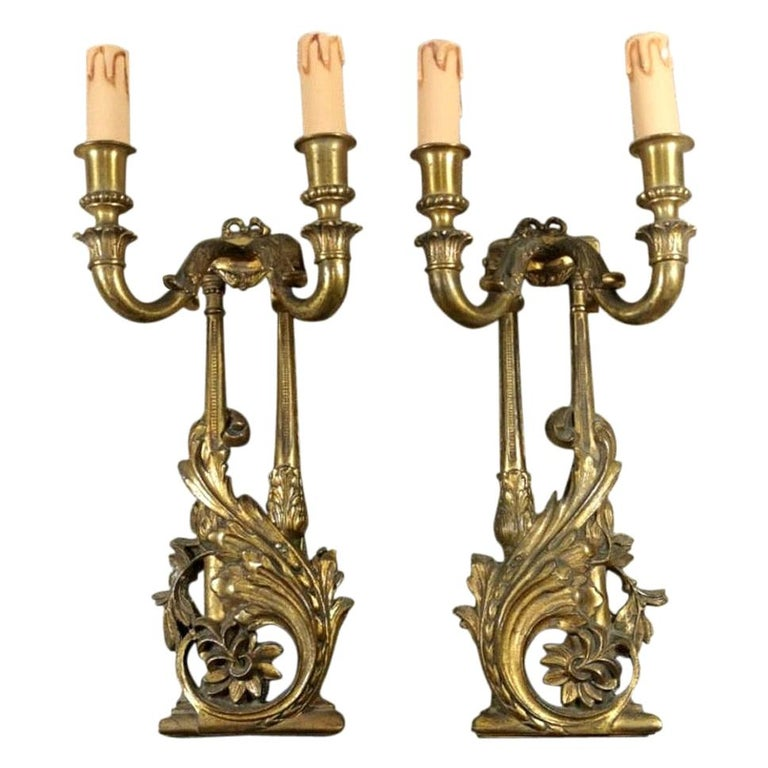 Louis XVI Style French Pair of Appliques in Gilded Bronze For Sale