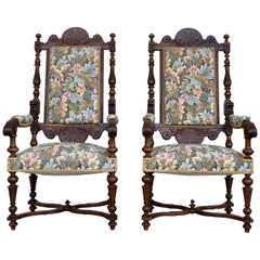 Louis XVI Style French Pair of Carved Walnut Armchairs, 1900s