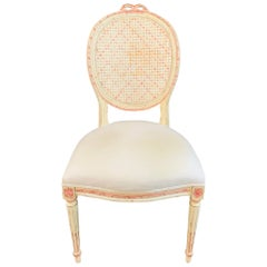 Louis XVI Style French Provincial White and Pink Cane Back Chair
