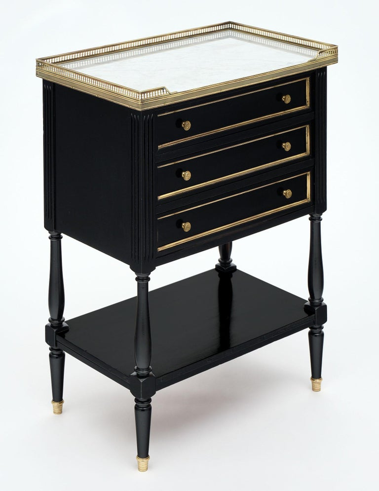 Ebonized Louis XVI Style French Side Table For Sale