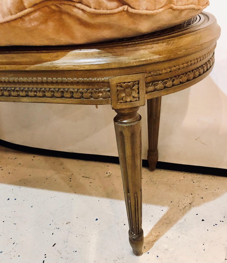 Louis Xvi Style French Vanity Bench With Canned And