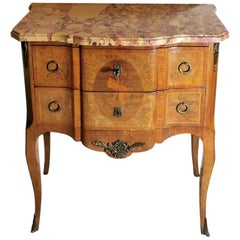 Louis XVI Style French Walnut Briarwood Chest of Drawers with Marble Top