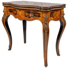 Louis XVI Style French Walnut Marquetry Inlaid Card Table