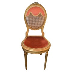 Louis XVI Style Gilded Accent Chair, Caned Back, Original Apricot Velvet Seat