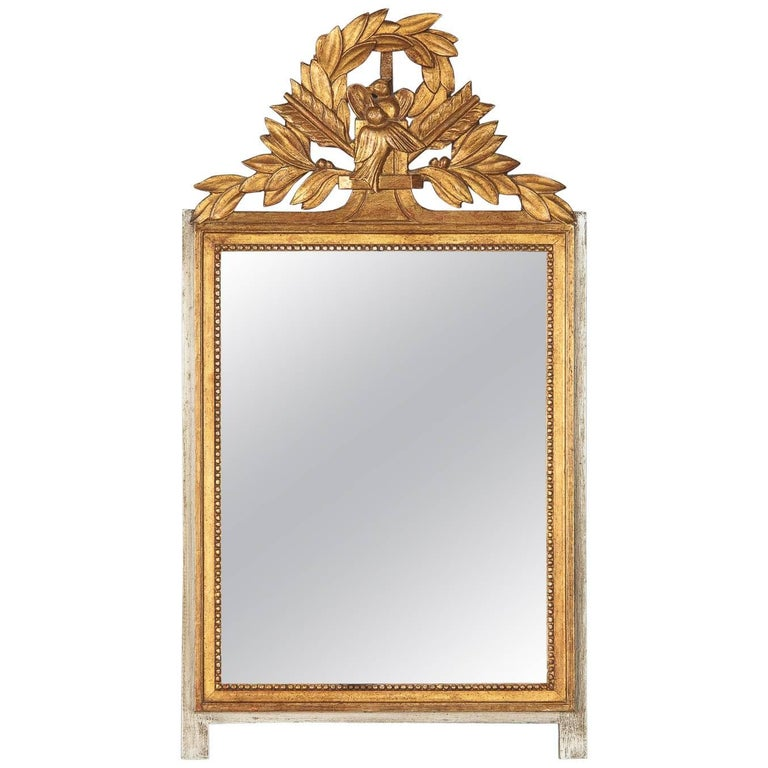 louis xvi style gilded and painted mirror by andre mailfert 1930s
