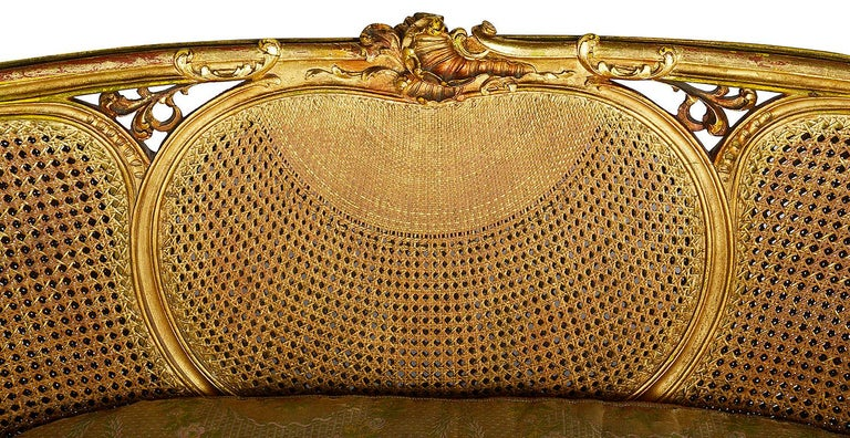 French Louis XVI Style Gilded Two-Seat Sofa, circa 1900 For Sale