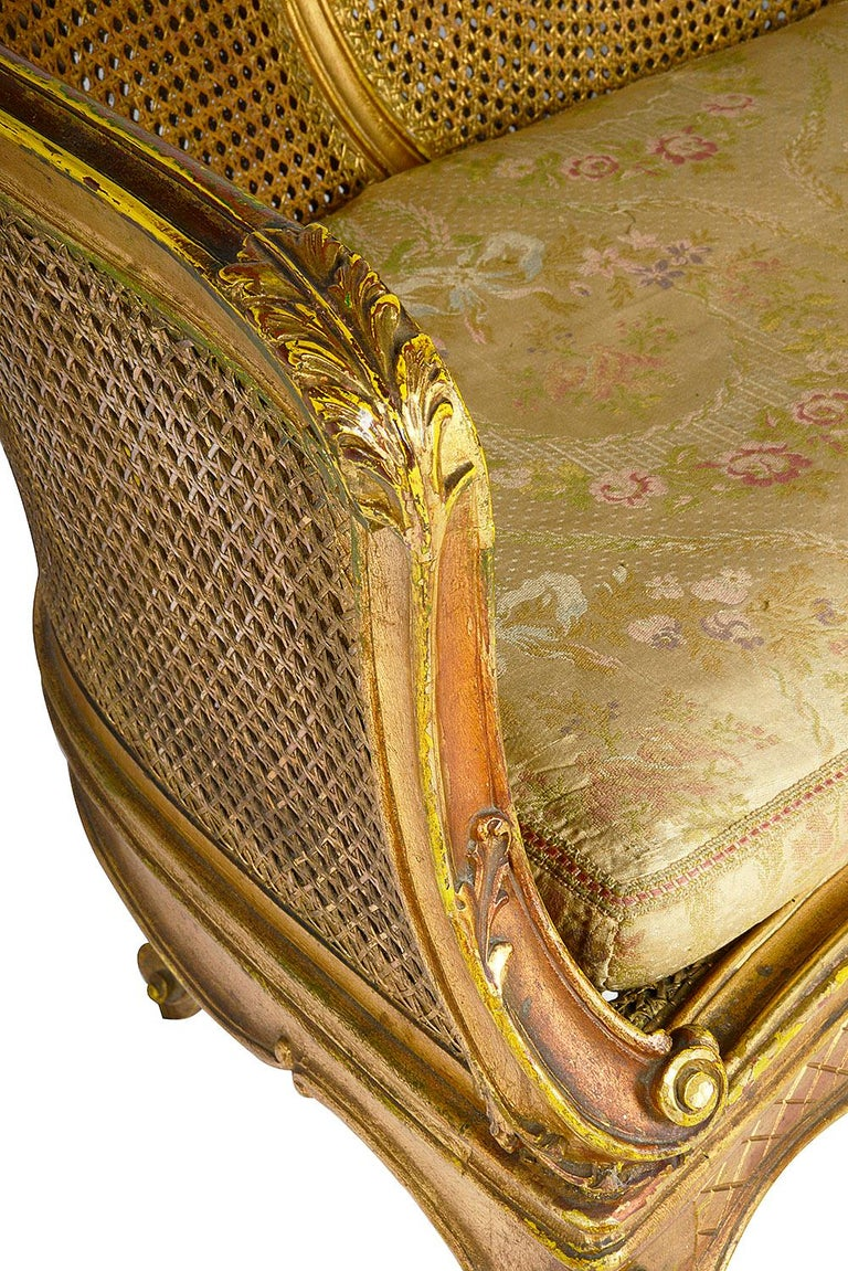 Carved Louis XVI Style Gilded Two-Seat Sofa, circa 1900 For Sale