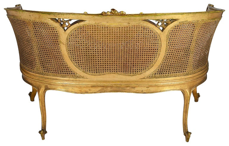 Louis XVI Style Gilded Two-Seat Sofa, circa 1900 In Good Condition For Sale In Brighton, Sussex