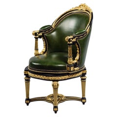Louis XVI Style Gilt and Ebonised Carved Desk Chair, French, Early 20th Century