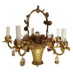Louis XVI Style Gilt Brass Basket Form Chandelier with Crystal Fruit