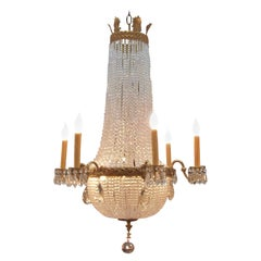 Louis XVI Style Gilt Bronze and Beaded Chandelier