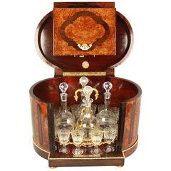 19th Century Louis XVI Gilt Bronze and Bird's-Eye Maple Tantalus or Liquor Caddy
