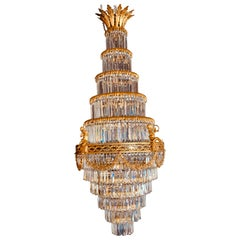 Louis XVI Style Gilt Bronze and Crystal Swag Neoclassical Chandelier